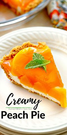 Easy to make this light cool creamy peach pie is the perfect any time of the year dessert. The graham cracker crust cream cheese layer peaches and topping come together perfectly to make one luscious treat Tart Recipes, Fruit Recipes, Sweet Recipes, Baking Recipes, Dessert Recipes, Strawberry Desserts, Cheesecake Strawberries, Strawberry Sauce, Recipes