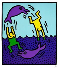 Keith-Haring-Untitled-1983-Poster-Kunstdruck-Bild-72x60cm-Kostenloser-Versand