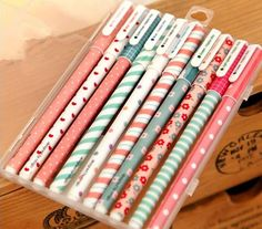 Set Of Ten Color Gel  Pens Christmas DIY on Etsy, cute pens!