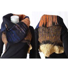 Awesome reversible nuno felt art vest with golden metallic silk collar