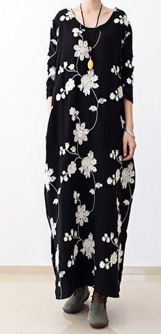 Long sleeve black floral dresses 2016 fall oversized cotton dresses linen caftans