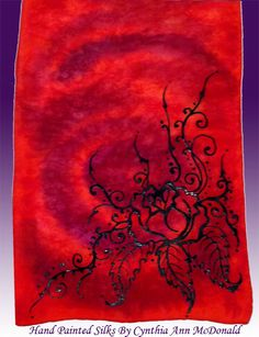 Hand Painted Silk, with black gutta/resist Roses.