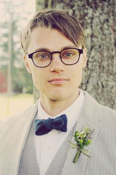 adorable three-piece suit and bow tie for a groom! Seersucker Wedding, Wedding Types, Wedding Dress Cake, Groom Outfit, Groom Style, Groom And Groomsmen, Wedding Trends, Wedding Ideas, Wedding Groom