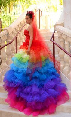 2015 Haute Couture Rainbow Wedding Gown Dress Formal Ball Runway Fashion Ruffled Tulle Skirt Bridal Gowns With Sweetheart Rainbow Wedding Dress, Colored Wedding Dresses, Wedding Colors, Wedding Gowns, Rainbow Dresses, Bridal Gowns, Organza Bridal, Tulle Wedding, Wedding Ideas