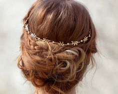 Leaf crown gold bridal crown grecian goddess by gardensofwhimsy