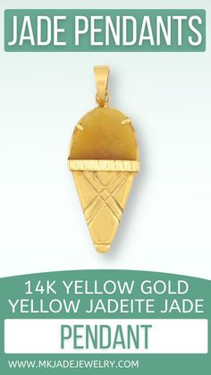 This fun yellow jade is prong set on a 14K yellow gold ice cream cone pendant finished with a simple bail. Use discount code INSTA10JORDAN at checkout!