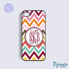 Monogram iPhone 5s Case, iPhone 5c Case, iPhone 5 cover, Cute Colorful Chevron Design Rubber or Tough Cases - with your intials or Name