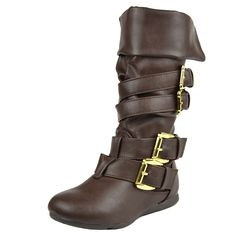 Kids Mid Calf Boots Gold Stacked Buckle Accent Casual Shoes Brown Girls Footwear, Girls Shoes, Cute Boots, Black Kids, Mid Calf Boots, Casual Shoes, Little Girls, Slip On, Brown