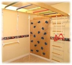 Indoor Jungle Gym can convert space in your house into a custom children gym with climbing wall, monkey bars, sliding pole, hammocks for little pirates.