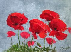 Abstract Poppies Painting Original Modern Acrylic Painting on Canvas Red Poppy on Gray Background Textured Impasto Palette Knife Wall Art by ColorPictureStakhiv on Etsy