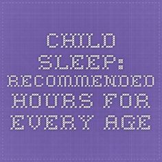 Child Sleep: Recommended Hours For Every Age