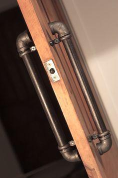 Pair of Industrial Steel Pipe Door Pull Handles. via design industrial Design Door Pull Handles, Door Pulls, Pipe Furniture, Industrial Furniture, Furniture Fittings, Bespoke Furniture, Urban Furniture, Industrial Pipe, Industrial Style