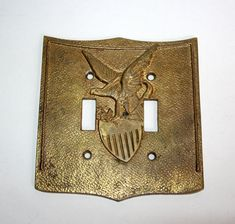 Signed by Cambron. Toggle Light Switch, Light Switch Covers, Tin Containers, Vintage Music, Early American, Solid Brass, Eagle, Butterfly, Handmade