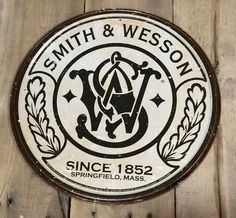 Vintage Style Smith & Wesson Tin Sign  - Rustic Home Man Cave Firearms Decor #SmithWesson #RusticPrimitive