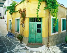 Green Door in Lefkes, Isle of Paros