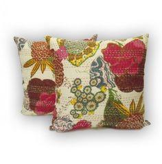 Handmade Tropical Kantha Pillow Cover