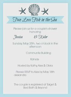 Elegant Beach Theme Bridal Shower Invitations
