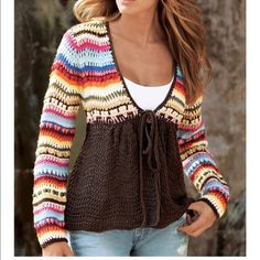 Boston Proper Hand Crochet Cozy Sweater Sweater in vivid stripes with button and tie front; solid bodice has a slimming effect. Brown on bottom and multi color top.  • Acrylic. • Imported Boston Proper Sweaters Cardigans