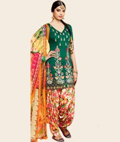 Buy Giselli Monteiro Green Cotton Satin Punjabi Suit 73522 online at lowest price from huge collection of salwar kameez at…