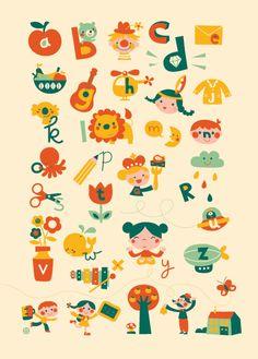 ABC Poster Music Illustration, Fruit Illustration, Alphabet Design, Alphabet Art, Alphabet Posters, Abc School, Learn Dutch, Abc Poster, Simple Doodles