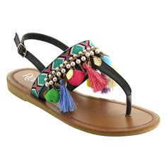 e97052bbcb91e Refresh IE92 Women s Bohemian Pom Pom Tassel Ankle Strap Thong Flat Sandal  Flats