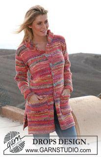Free knitting patterns and crochet patterns by DROPS Design Crochet Coat, Crochet Cardigan Pattern, Crochet Jacket, Jacket Pattern, Knit Jacket, Crochet Clothes, Hooded Jacket, Knitting Patterns Free, Free Knitting