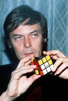 Inventor Erno Rubik demonstrates his cube in London in 1981.