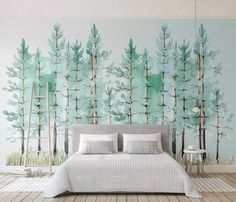Murwall Modern Mint Green Tree Painting Forest Wallpaper Jungle Wall Decor Tropical Cafe Decor Natural Home Decor Living Room Entryway photo ideas from NEO Home Decor Tree Wallpaper Living Room, Tree Wallpaper Mural, Forest Wallpaper, Wallpaper Jungle, Bedroom Wallpaper, Nature Wallpaper, Painted Wallpaper, Photo Wallpaper, Wall Murals Bedroom