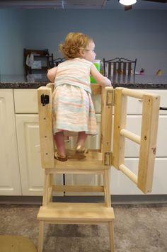 Once my daughter started walking around, we wanted to get her a Kitchen Helper Tower (also referred to as a Learning Tower) so she could be at counter height and.