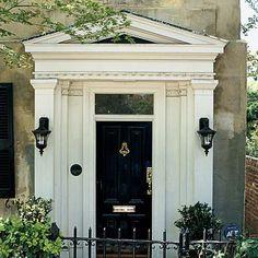 front door, black, exterior