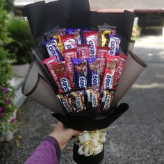 """Type of bouquet: choc bouquet . . HOW TO ORDER: 1) screenshot any post you wish to order 2) WhatsApp/DM 0173737929 . . . """"The flower may die but the emotions stay forever."""" Cause WE DELIVER EMOTION. . . Delivery around Selangor & KL FREE DELIVERY Shah Alam & Klang . . #flowerbouquet #flowerbouquetshahalam #flowerbouquetselangor #chocolatebox #chocolatebouquetmalaysia #chocolatebouquet #surprisedelivery #surprisedeliveryshahalam #surprisedeliveryselangor #wedeliveremotions #endlessgift… Gift Bouquet, Boquet, Candy Bouquet, Chocolate Gifts, Chocolate Box, Chocolate Desserts, Cute Birthday Gift, Birthday Treats, Chocolate Flowers Bouquet"""