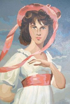 """Vintage Paint by Number Lady in Pink Pinkie, White Dress LARGE 28x18"""" Romantic Princess Girl Bedroom Nautical Girl Bonnet, as-is PLEASE read by chloeswirl on Etsy"""