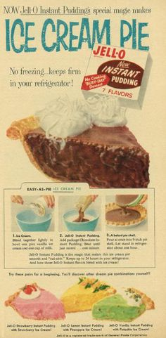 Kind of obsessed with the colors of pie along the bottom. 1957 Food Ad, Jell-O Instant Pudding, with Ice Cream Pie Recipe Retro Recipes, Old Recipes, Vintage Recipes, Cooking Recipes, 1950s Recipes, Family Recipes, Light Recipes, Jell O, Instant Pudding