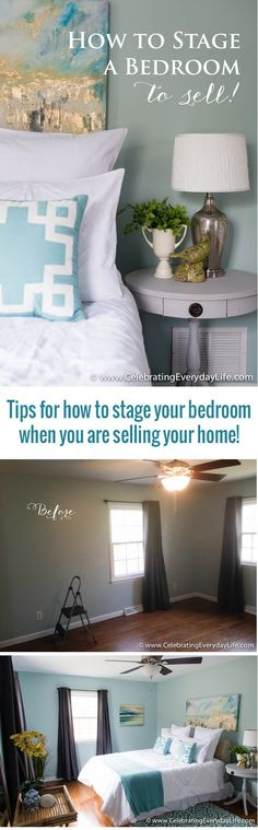 Home Decor to sell Tips for How to Stage a Bedroom to sell! Home Staging Before + After, Home staging ideas, How to stage a bedroom, decorate a bedroom for sale, celebrating everyday life with jennifer carroll Sell My House, Selling Your House, House 2, Home Bedroom, Bedroom Decor, Bedrooms, Decor Room, Teen Bedroom, Bedroom Wall