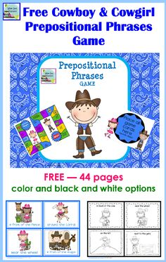 free 44 page Western theme prepositional phrases printable with a game, options to print in black and white or color
