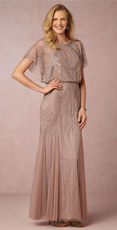 Absolutely beautiful beaded mother-of-the-bride dress in rose mauve with beading. New at @BHLDN