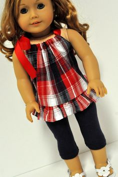 American Girl Doll Clothes Bright Pink Chevron by CircleCSewing