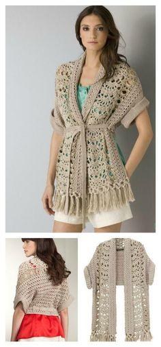 57de660490 Lace Scarf-Vest Free Crochet Diagram #scarf #clothing #diagram Horgolt  Dzsekik,