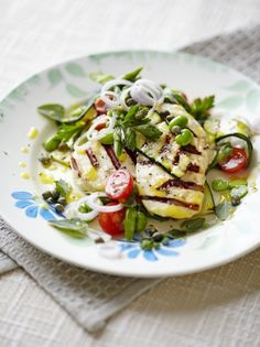 Halloumi with griddled vegetables   Jamie Oliver  L: or as I like to call it 'Squeaky Cheese!'