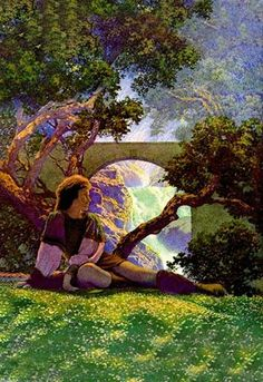 """Maxfield Parrish (1870 – 1966) was an American painter and illustrator. He worked on commission on books, advertising campaigns, magazines, and even sculpture. He was famous for his """"girls on rocks"""" b"""