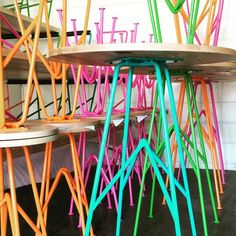colored tables + stools made by dustyrael