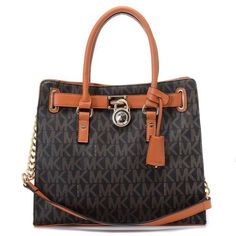 Michael Kors Hamilton Logo Large Brown Totes   $74.99