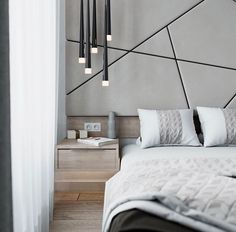 diagonal wall paneling; white & black contrast grid; multi tube pendant