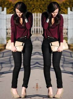 Resultado de imagen para outfit blusa vino