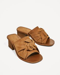 50a0cad91daf ZARA - WOMAN - KNOTTED SLINGBACK HIGH HEEL LEATHER SHOES Mules Shoes