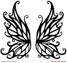 Black fairy wings tattoo design