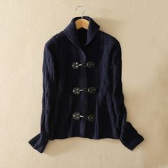 Women's pure cashmere knitted three buttons cardigan sweater with turn-down collar solid color long sleeves