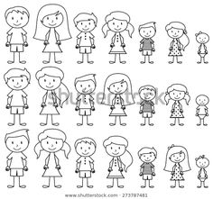Stick Figure Family, Stick Family, Family Drawing, Drawing For Kids, Kids Vector, Free Vector Art, Zentangle, Fourth Of July Crafts For Kids, Family Stock Photo