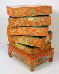 HINESE RED LACQUER STACKING CABINET: 4 sections and top on the stand