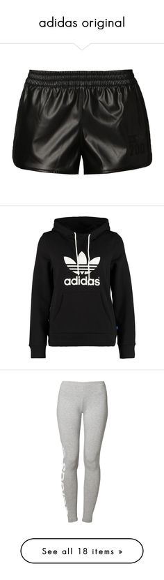 """""""adidas original"""" by minis-miss ❤ liked on Polyvore featuring shorts, bottoms, pants, black, patterned shorts, adidas originals, men shorts, black shorts, adidas originals shorts and tops"""